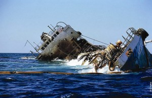 The Jessica wreck surrounded with antipollution booms (Source: Cedre)