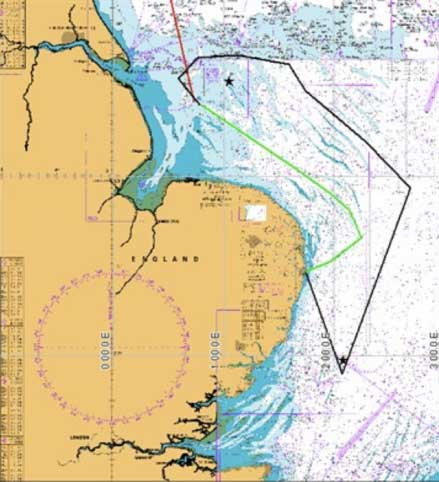 Wave glider's North Sea route: green line indicates initial transit to first, northern SmartBuoy site (Dowsing); the stars mark SmartBuoy locations; black line shows the trial route
