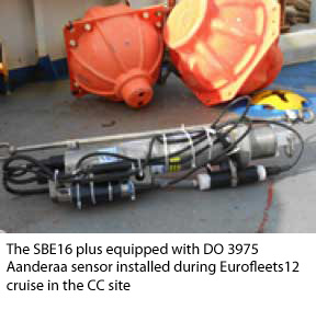 sbe16 plus equipped with DO 3975 Aanderaa sensor installed during Eurofleets12 cruise in the CC site
