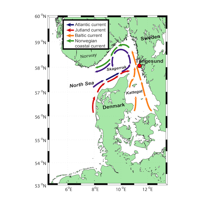 Map of the Skagerrak with currents and Tångesund